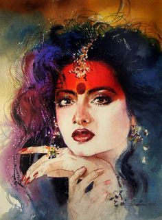 watercolor paintings by samir mondal on behance watercolour - watercolor portraits of women Watercolor Art Face, Watercolor Artists, Watercolor Portraits, Watercolor Paintings, Indian Women Painting, Indian Art Paintings, Indian Artist, India Painting, Woman Painting