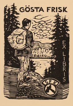 Exlibris by Otto Puusta from Sweden for Gösta Frisk - Man Sport/game - Woodcut Ex Libris, Storyboard Artist, Linoprint, Frisk, Woodblock Print, Curiosity, Mantra, Ephemera, Printmaking
