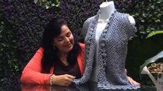Saco Plata Fantasía - Tejido Agujas fácil - Tejiendo con Laura Cepeda Knit Vest, Sweater Cardigan, Crochet Art, Crochet Patterns, Crochet Videos, Crochet Clothes, Knitting, Youtube, Veronica
