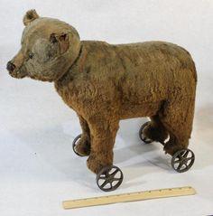 LRG Antique Circa 1910 Steiff Teddy Bear Ride on Pull Toy w Growler