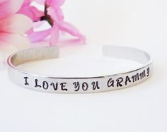 I Love You Grandma Bracelet Cuff - Personalized Bracelet - Grandmother Gift - Custom Bracelet - Personalized Gift - Gifts Under 20