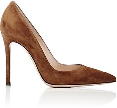 """Gianvito Rossi dark brown suede """"Gianvito"""" pumps. 4""""/105mm heel (approximately). Pointed toe. Suede-covered stiletto heel. Slips on. Lined with smooth leather. Leather sole. Available in Texas (dark brown). Made in Italy."""