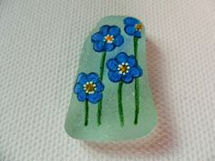 Blue Hepatica flowers - Acrylic miniature painting on English sea glass by ShePaintsSeaglass on Etsy