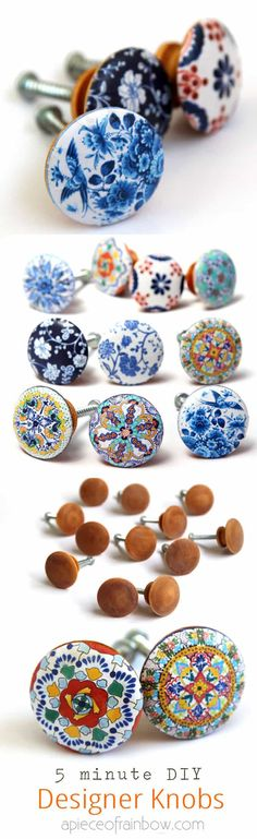 Anthropologie worthy DIY cabinet or door knobs that look like hand painted designer ceramic knobs! Furniture Makeover, Diy Furniture, Furniture Stores, Furniture Knobs, Furniture Outlet, Timber Furniture, Furniture Direct, Office Furniture, Painted Furniture