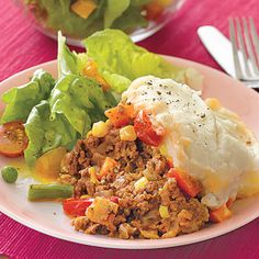 Slow-Cooker Shepherd's Pie    Cost per serving: $1.39    Get your meat-and-potatoes fix the easy way with a classic shepherd's pie made in the slow cooker. Lean ground beef, a frozen veggie mix and potatoes blended with just a touch of milk and butter make it a well-balanced meal.