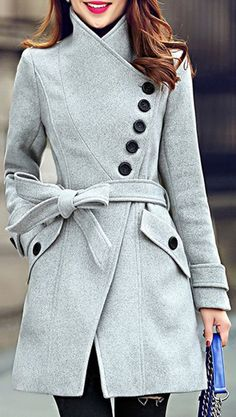 Grey coat with asymmetrical buttons