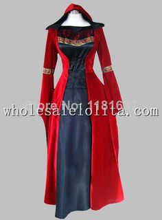 Cheap Dresses, Buy Directly from China Suppliers: Gothic Black and Red Velvet & Silk-like Historical Euro Court Dress Witch Costume Condition: Brand New Shown Color: