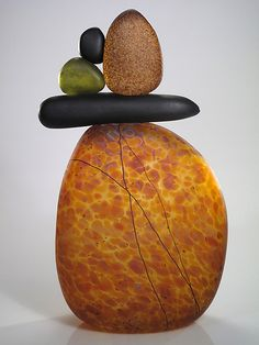 Cairn Rock Totem in Topaz by Melanie Guernsey-Leppla. Art Glass Sculpture.