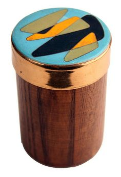 Anonymous; Teak, Enamel and Brass Cigarette Box, 1950s.