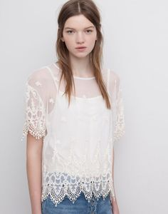 EMBROIDERED T-SHIRT - BEIGE