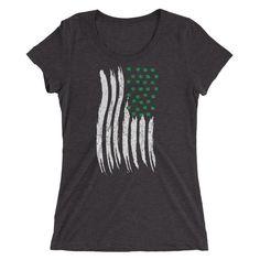 fdd2f381302 Ladies  St Patrick s Day Irish American Flag T-Shirt