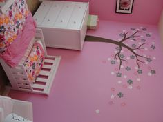 hand painted tree to match toddler bedding.
