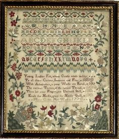 "Antique sampler- ""Young Ladies Fair, whose Gentle minds incline To all… Embroidery Sampler, Cross Stitch Embroidery, Embroidery Patterns, Cross Stitch Patterns, Cross Stitch Samplers, Cross Stitching, Art Du Monde, Art Du Fil, Textiles"