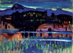 """lawrenceleemagnuson: """" Wassily Kandinsky Murnau am Staffelsee I oil on paper laid on board, 33 x cm The Ashmolean Museum of Art and Archaeology, England """" Art Painting, Fine Art, Painter, Abstract Painting, Painting, Wassily Kandinsky, Kandinsky Art, Art, Abstract"""
