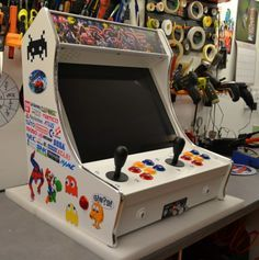 Mini Arcade Machines - HOME Bartop Arcade Plans, Arcade Games, Mini Arcade Machine, Wii, Small Game Rooms, Arcade Stick, Nerd Decor, Nintendo, Retro Video Games