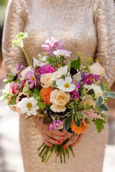 Hand Picked Wedding Bouquet - Babb Photo | Preowned Gold Badgley Mischka Wedding Dress | Contemporary Tab Centre Shoreditch Wedding | Anthology Vintage Hire | Wild Flowers | DIY Decor