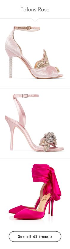 """""""Talons Rose"""" by liligwada ❤ liked on Polyvore featuring shoes, sandals, heels, pink, velvet, pink sandals, high heels sandals, strappy sandals, strappy high heel sandals and pink heeled sandals"""
