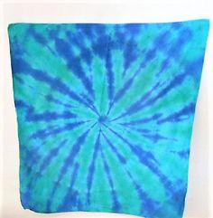 Fun Stocking Stuffer - Hippie Headwear - Tie Dye Bandana - Colorful Rave Bandana - dog bandana - Small gift for teen - Green and Blue - by FarmFreshTieDyeStore on Etsy