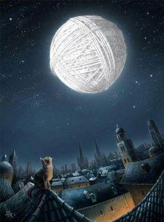 Cat, rooftop, moon ball of yarn -- illustration