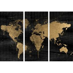 Pinterest challenge gold leaf map art canvases gold and leaves featuring 3 panels and an oil painting map motif this loft worthy canvas print gumiabroncs Choice Image