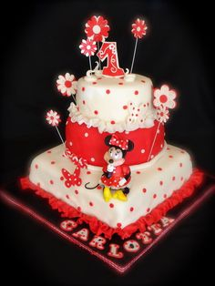 i like the square with the round circle top tier maybe a rectangular sheet cake, square then circle pink and white but similar to this with a minnie head on top?