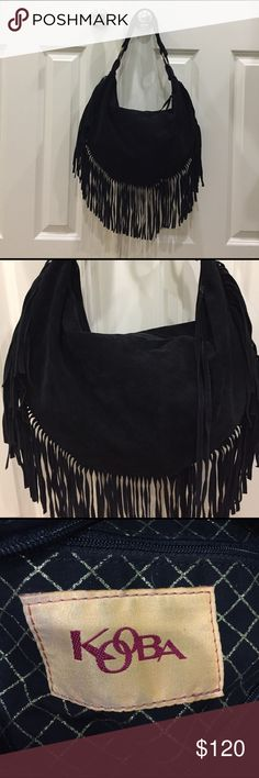 """Kooba BOHO-chic suede fringed hobo bag! ❤ Kooba BOHO-chic suede fringed hobo bag! ❤ This is a stunning leather black suede bag with fun and trendy fringe all the way around. Zippered opening-pull even has fringe!!! The inside of the bag is spotless without stains. The outside suede has no marks or discoloration. Preloved in very good condition. One rivet replaced when I ran into the car door-see pic 6-priced accordingly-but not noticeable. One inside pocket. Drop is 9"""". Bag is 17""""L X 10.5"""" H…"""