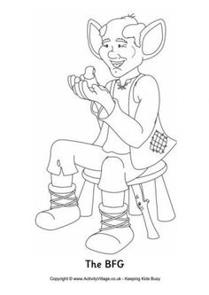 """Here's a colouring page of the BFG, or """"big friendly giant"""", whose mission in life is to collect lovely dreams and distribute them to children. You can see him here with his friend Sophie."""