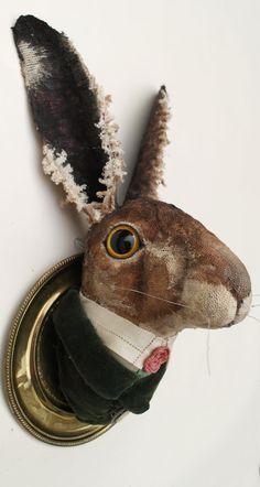 Mr Twitchen. Heavily textured Textile Hare by AnnieMontgomerie