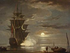 A Ship Firing a Gun by Moonlight   by Francis Swaine  National Maritime Museum   Oil on panel