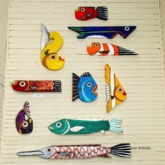 Painted Wood FIsh Decor, Purple Folk Art. $55.00, via Etsy.