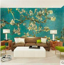 Grote behang muurschildering bloem 3d muurschilderingen zelfklevende muur olieverf vinyl behang voor woonkamer wanddecoratie klant(China (Mainland))