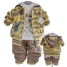 BabyRow Studious Alphabet Bear 3-Piece Cardigan Set, Yellow