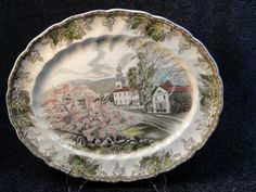 "$14.99 Johnson Bros Friendly Village - The Village Green Serving Platter 12"" - NICE! #JohnsonBros"
