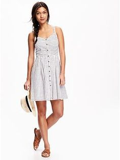 Fit & Flare Button-Down Tank Dress for Women | Old Navy