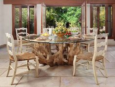 Amazing dining table design ideas with glass top. Here are 25 cool dining table designs with glass top. Modern glass dining table ideas for modern houses. Driftwood Dining Table, Glass Dining Room Table, Driftwood Furniture, Dining Table Design, Dining Area, Driftwood Crafts, Dining Tables, Dining Furniture, Glass Tables