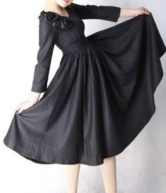Black linen dress with flower - $69.00 by maggie