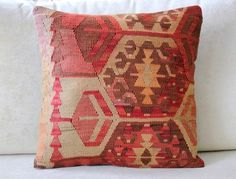 Turkish Kilim Pillow Cover, PurlyNotes, Etsy
