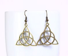 3ce7b2f4bc6b Antique brass celtic drop dangle earrings 547 by Khalliahdesign,  15.00