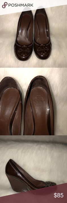 Tory Burch Wedge Heels Good condition. Has some signs of wear on the back as soon in last picture. Still has a lot of life left in them. Tory Burch Shoes Wedges