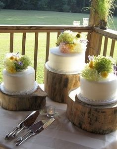 This is such a neat idea!!! cut pieces of tree stump at various heights to make cake stands!!!!! Wow! looks great!