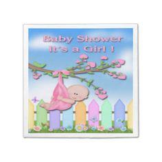 Baby Girl - Backyard Baby Shower Paper Napkins