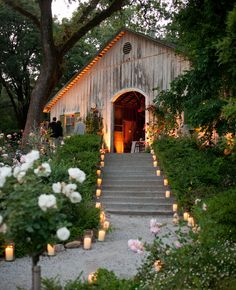 Candle light lines the walkway leading the guests to wedding events. Such a romantic look!