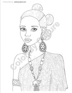 printable coloring book african inspired fashions volume 1 instant download 5 pages - African American Coloring Books
