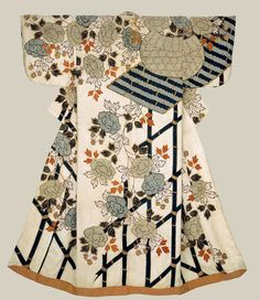 "osode (proto-kimono), early 18th century, Japan. ""Robe (kosode) of white silk damask (rinzu) with overall ground pattern of interlocking swastika (manju tsunagi) and a surface design of a basket and peonies covering a bamboo fence in blue, brown, reddish-orange, purple and gold created by stenciled imitation tie-dye (kata kanoko), hand-applied indigo (ai-zuri) and embroidered with silk and couched with metallic gold-covered thread.     MFA. (William Sturgis Bigelow Collection)"