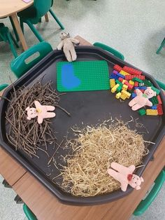 A little bit of a change to my last three little pigs tuff spot. This time - teddy pigs! Eyfs Activities, Nursery Activities, Preschool Activities, Tuff Spot, Traditional Tales, Traditional Stories, 3 Little Pigs Activities, Three Little Pigs Story, Fairy Tales Unit