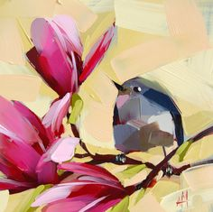 Kinglet and Magnolia Blossoms original bird floral painting by Angela Moulton 8 x 8 inches (20.32 x 20.32 cm) Ready to Ship January 16
