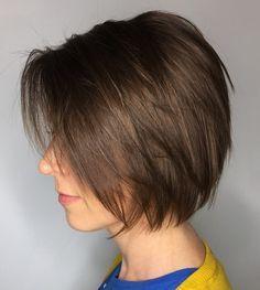 Layered Brown Bob For Fine Hair