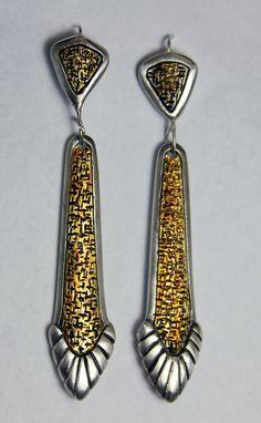 Metal Clay Carved Earrings by J Alexander Designs.