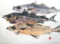 Jean Kigel Asian brush watercolors Maine