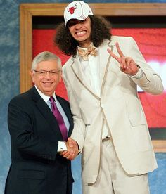 Joakim Noah poses with NBA Commissioner David Stern following his selection by the Chicago Bulls as the 9th overall pick of the 2007 NBA Dra...